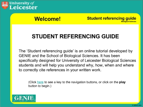 The student reference guide is the latest online tutorial produced at Leicester