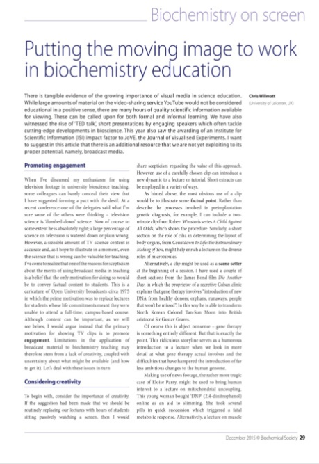 The December 2015 edition of The Biochemist focuses on screen representations of Biochemistry